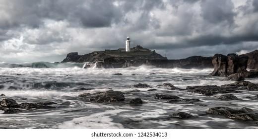 Godrevy lighthouse cornwall england uk