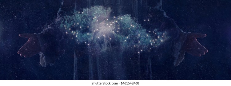 God's hands creating the universe. - Shutterstock ID 1461542468