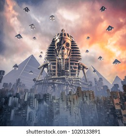 Gods of New Egypt / 3D illustration of science fiction scene showing skeleton pharaoh figure rising above fictional futuristic Egyptian city at sunset with pyramid shaped spaceships rising into sky