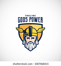 Gods Power Sport Team or League Logo Template. Odin Face in a Shield, with Typography. Mighty Warrior Head in Helmet Mascot. Isolated. Raster Copy.