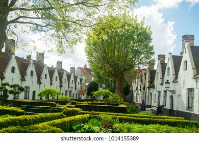 Godshuis Sint-Jozef  white building in Bruges ,Belgium.