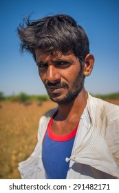 GODWAR REGION, INDIA - 14 FEBRUARY 2015: Young Rabari shepherd with no turban. Rabari are an Indian community in the state of Gujarat.