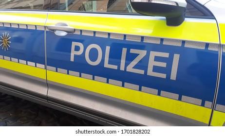Goerlitz Germany - april 11, 2020: german police car on street, Polizei is the german word for police