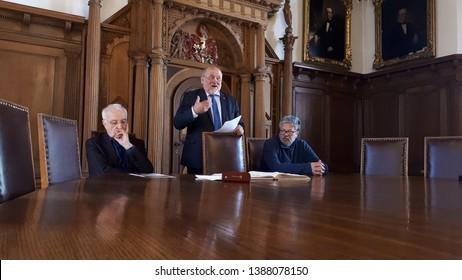goerlitz germany - april 15, 2019: Lord Mayor Siegfried Deinege, Fritz Pleitgen and Mikhail Pavlovich Shishkin at the entry in the Golden Book of the city in the historic meeting room of Görlitz Town