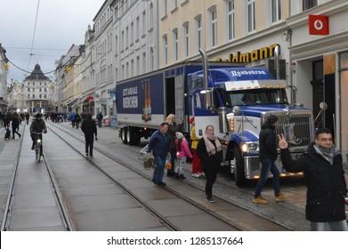 goerlitz germany - december 24, 2018: truck of Landskron brewery Goerlitz parked on the main road