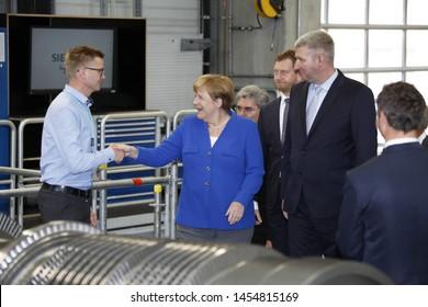 Goerlitz Germany - july 15, 2019:  Angela Merkel, Federal Cancellor of Germany during visit SIEMENS factory