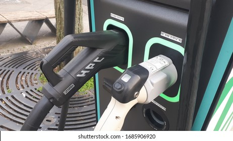 goerlitz germany - march 28, 2020: Electric charging station for vehicles for public use