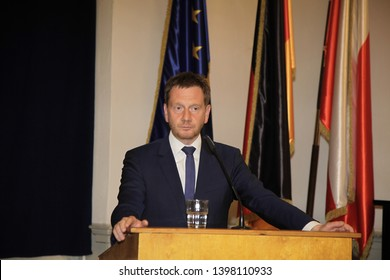 goerlitz germany- may 3,2019: Saxony's Prime Minister Michael Kretschmer introduce new Chief Constable of Görlitz into his office