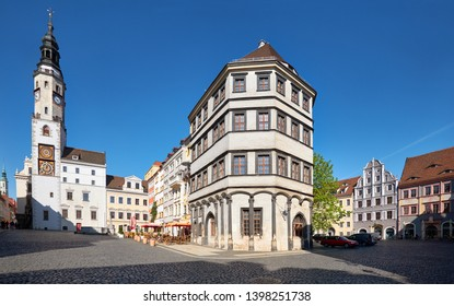 Goerlitz, Germany, panoramic image of main square in the morning