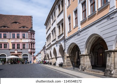 Goerlitz, May 02, 2018: Ubermarkt (Lower Market Square) with the town hall, arcades and town hall stairs
