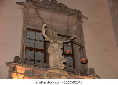 goerlitz saxony germany - november 30, 2018: the historic town hall, stairs with Justitia column