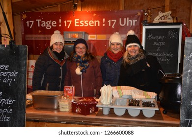"goerlitz,saxony,germany - december 11, 2018: crew from ""tuchmacher"" hotel is cooking at Christmas Market"