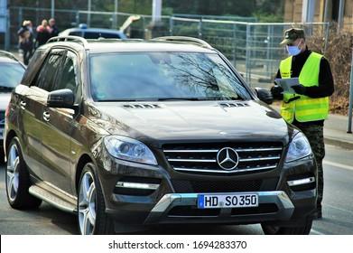 Goerlitz,Saxony,Germany,04-04-2020.coronavirus checkpoint on  the   German Poland  border