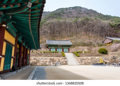Goesan, South Korea - April 6, 2019: View of the Gagyeonsa temple. This temple was built in the Silla period(514-539).