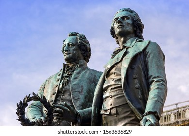 Goethe & Schiller Memorial in Weimar. The Monument was designed 1857 by Ernst Friedrich August Rietschel. The bronze double statue is one of the most famous and most beloved monuments in all of German