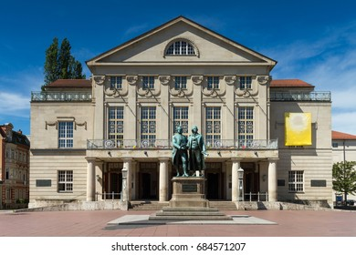 Goethe Schiller Monumen in front of the court theater, Weimar, Thuringia, Germany