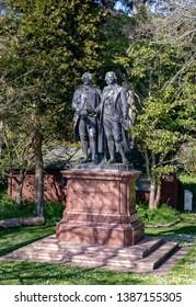 Goethe and Schiller statue in the garden of San Francisco Presidio park, USA