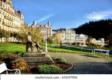 Goethe square with fountain, statue of J.W.Goethe and hotels - center of small west bohemian spa town Marianske Lazne (Marienbad) - Czech Republic - Shutterstock ID 676197904