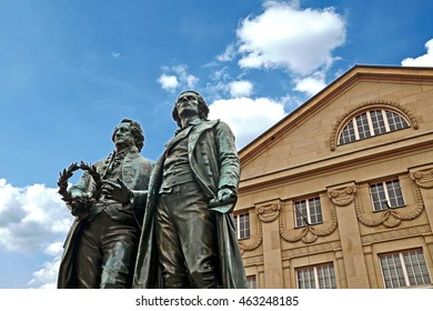 Goethe-Schiller Monument in front of the Deutsches Nationaltheater in Weimar, Thuringia Germany