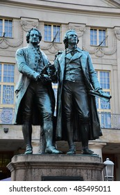 Goethe-Schiller Monument in front of the German National Theater in Weimar, Thuringia Germany