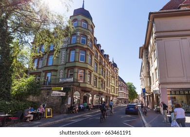 GOETTINGEN, GERMANY - AUGUST 08 2016: Medieval Old Town of Goettingen, Niedersachsen in Germany on a warm and sunny summer day