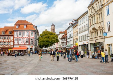 Goettingen, Germany - September 14, 2015 Center of the Goettingen Old Town. Main Market Square Known by Landmark Gaenseliesel fountain. Goettingen is a university town in Lower Saxony, Germany.