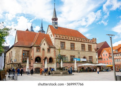 Goettingen, Germany - September 14, 2015: City Hall Square in Goettingen with the Gaenseliesel fountain and pedestrian zone of an old town center. Main market square.