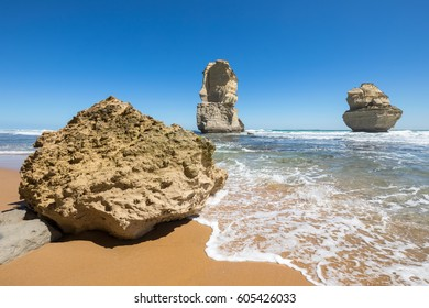 Gog and Magog are two giant limestone stacks offshore from the Gibson Steps on the Great Ocean Road outside Port Campbell in Victoria, Australia