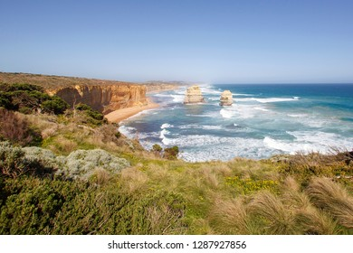 Gog and Magog are two rock stacks part of the Twelve Apostles rock formation on the Great Ocean Road - Port Campbell National Park