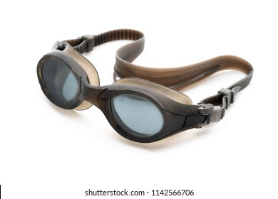 Goggles for Swimming Isolated on White Background, Black Color