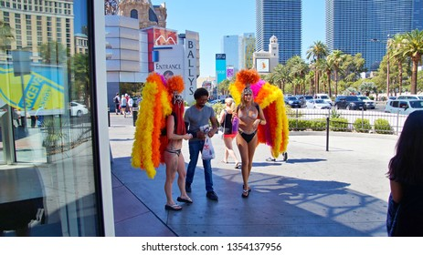 Gogo dancers welcomming man to a club. Las Vegas, Nevada 2nd June 2018