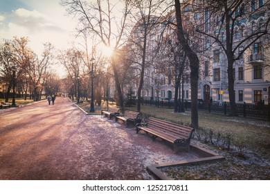 Gogol boulevard - walking street in Moscow city center in early winter on a sunny day