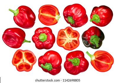 Gogosari peppers, a sweet Romanian ribbed heirlooms (Capsicum annuum fruits). Top view