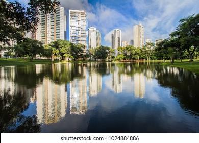 GOIANIA, BRAZIL - FEBRUARY 02, 2018:Many people have fun in this beautiful Park in Goiania city. On February, 2018, Goiania, Brazil.