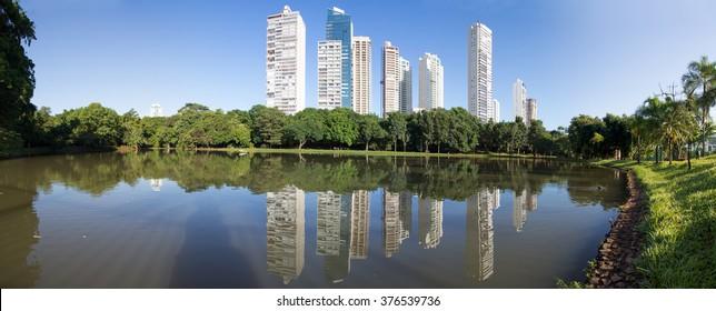 GOIANIA, BRAZIL - FEBRUARY 11, 2016:Many people have fun in this beautiful Park in Goiania city. On February 11, 2016, Goiania, Brazil.