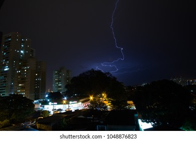 GOIANIA, BRAZIL - MARCH 16, 2018: The night is lit by lightning in Goiania city. On March 16, 2018, Goiania, Brazil.