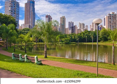 GOIANIA, BRAZIL - MARCH 20, 20176:Many people have fun in this beautiful Park in Goiania city. On March 20, 2017, Goiania, Brazil.