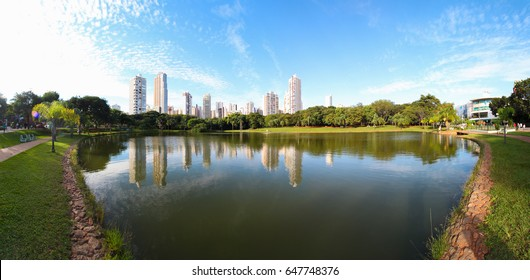 GOIANIA, BRAZIL - MAY 24, 2017:Many people have fun in this beautiful Park in Goiania city. On May 24, 2017, Goiania, Brazil.
