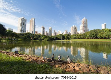 GOIANIA, BRAZIL - OCTOBER 09, 2016:Many people have fun in this beautiful Park in Goiania city. On October 09, 2016, Goiania, Brazil.