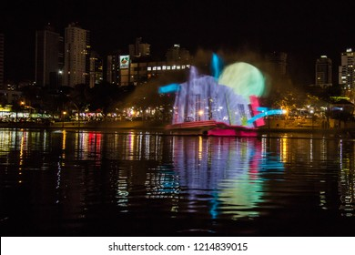 GOIANIA, BRAZIL - OCTOBER 26, 2018-In commemoration of the City's birthday, images were projected on this lake. On October 26, 2018, Goiania, Brazil.