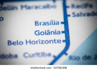 Goiania, Brazil on a geographical map.
