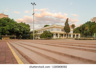 GOIANIA, BRAZIL - SEPTEMBER 01, 2018:In this building works a cultural center of the city. In Civic Square of Goiania. On September 01, 2018, Goiania, Brazil.