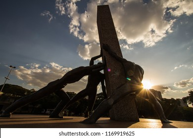 GOIANIA, BRAZIL - SEPTEMBER 01, 2018:Monument Of Three Human Races is the name this statue exposed in In Civic Square of Goiania city. On September 01, 2018, Goiania, Brazil.