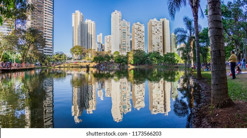 GOIANIA, BRAZIL - SEPTEMBER 04, 2018:Many people have fun during a event in this beautiful Park in Goiania city. On September, 2018, Goiania, Brazil.