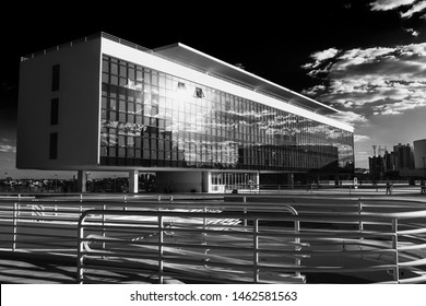 Goiania, Goias, Brazil July 24, 2019. One building of Cultural Center of Oscar Niemeyer. This center is a cultural complex located in Goiania.