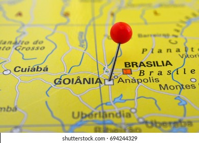 Goiania marked on map with red pin