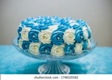 GOIANIA/GOIAS/BRAZIL - SEPTEMBER 24 2016: Birthday cake decorated with roses in shades of blue for birthday party. Blue decoration.