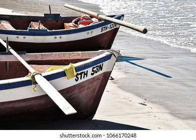 Going Fishing. The boats on South Africa's Fish Hoek beach are ready to be rowed out, to cast their nets and to bring home the catch of the day.