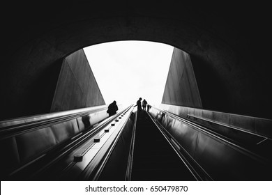 Going up the Metro Escalator