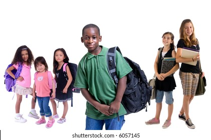 Going to school is your future. Education, learning, teaching. Young children ready for school.